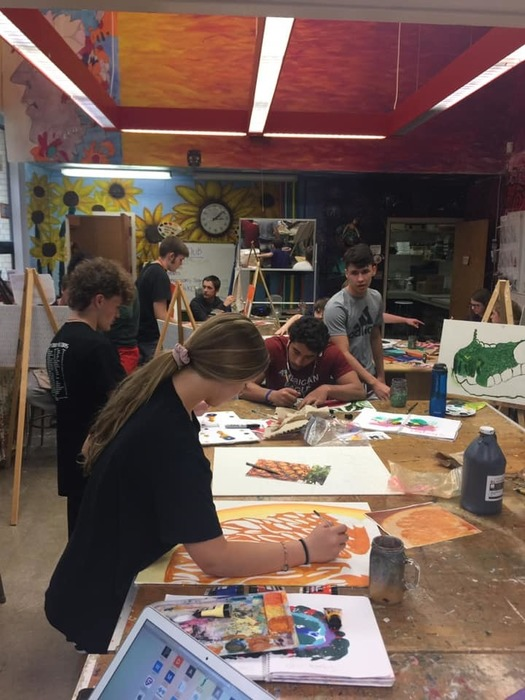 Students Working on Art