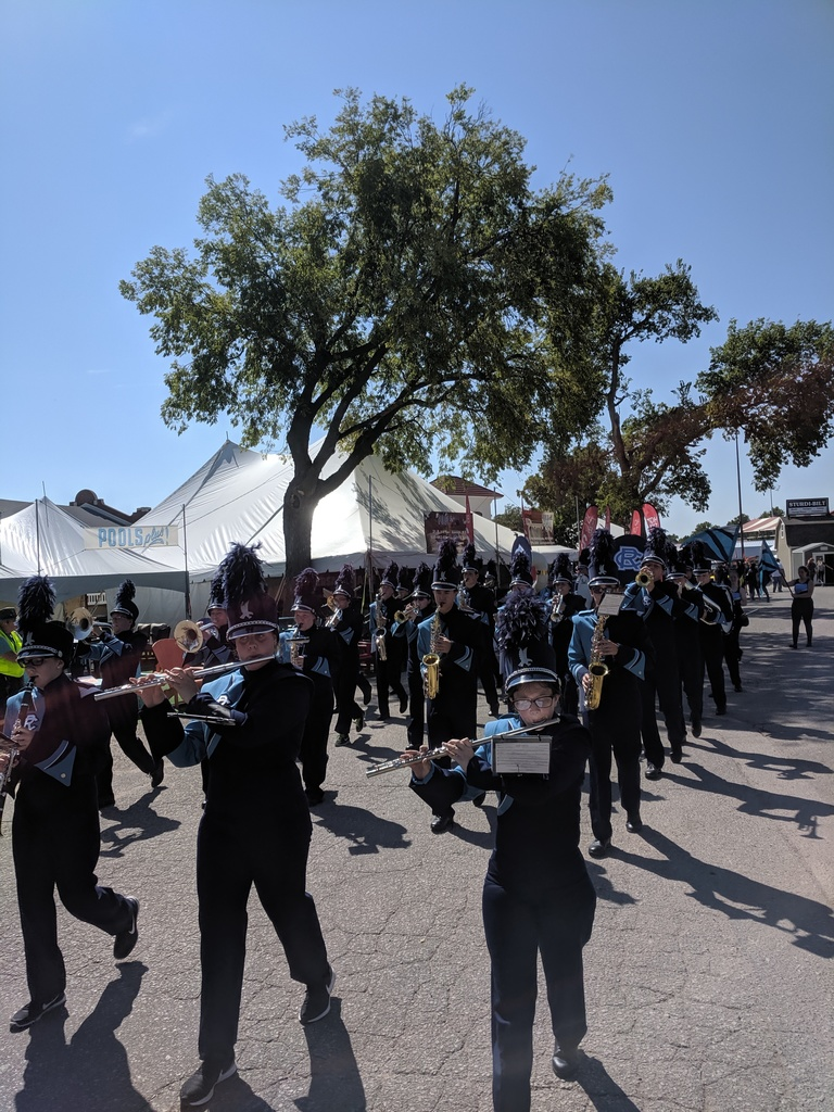 The Riley County Falcon Band attended the Kansas State Fair on Wednesday, September 11th to perform in the parade competition and earned a 1/Superior Rating. Congratulations!!
