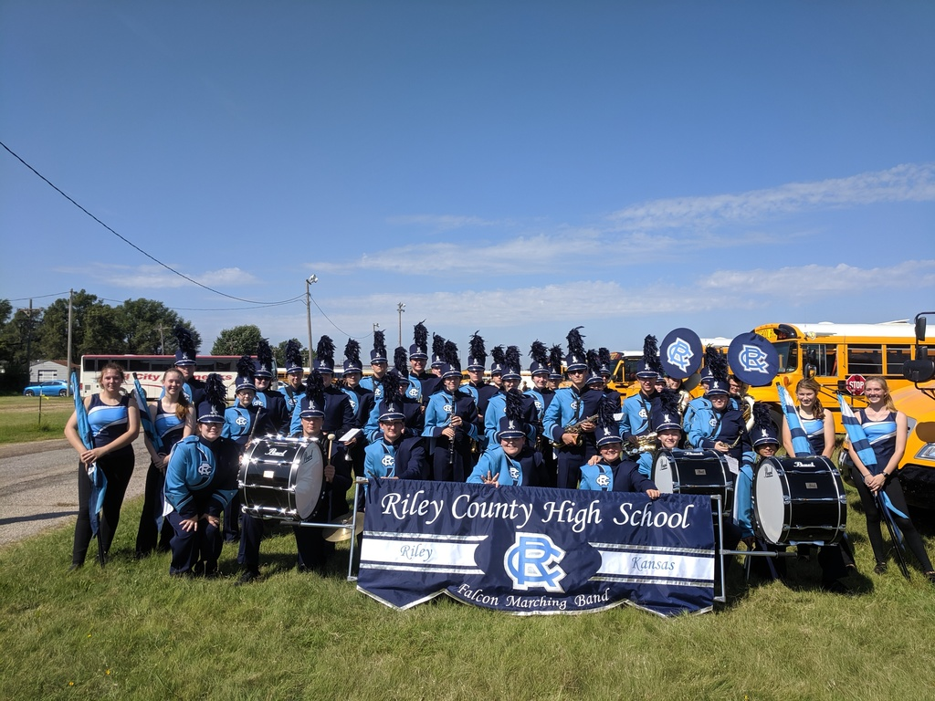 The Riley County Falcon Band attended the Kansas State Fair on Wednesday, September 11th to perform in the parade competition and earned a 1/Superior Rating.