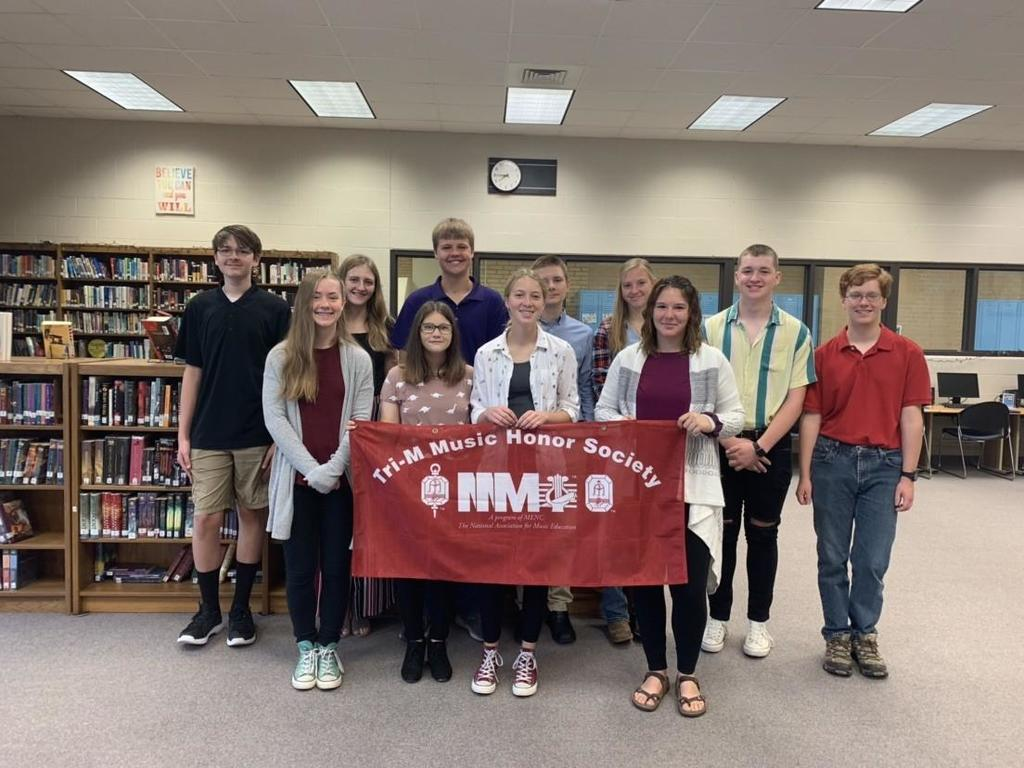 The Tri-M, Modern Music Masters, Riley County Chapter 4602 inducted 12 new members on Thursday, September 19th. New Members are: Ryan Pierce, BreAnn Miesern, Ryan McClure, Camden Foltz, Hailey Sharp, Kaden Williams, Brandon Moots, Ashlee Wilkinson, Jessica Mensch, Clara Liseli, and Samantha Melson. Returning members are: Peyton Smith, Karah Barker, Lily Lagerman, Macy Sabo, Olivia Headley, Garrett Harmison, Hutton Collins, and Hunter Wise.